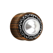 Flared Plug aus Ebenholz Tribal und Perle