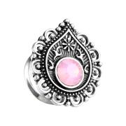 Flared Plug filigraner Tropfen mit Opal Stein pink