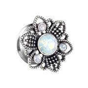 Flared Tunnel Blume mit Opal Kristall