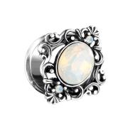 Flared Tunnel filigran quadratisch mit Opal Kristall oval