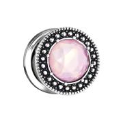 Flesh Plug Steinkristall pink