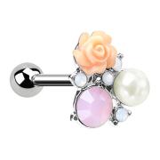 Micro Barbell silber Blume mit Opalkristall und Perle