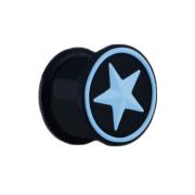 Plug schwarz mit hellblauem Stern