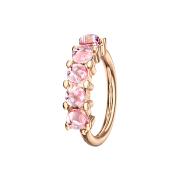 Micro Piercing Ring rosegold fünf Epoxidsteinen pink