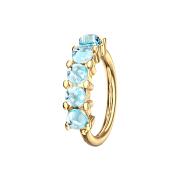 Micro Piercing Ring vergoldet fünf Epoxidsteinen blau