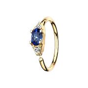 Micro Piercing Ring 14k vergoldet mit ovalem Kristall blau