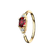 Micro Piercing Ring 14k vergoldet mit ovalem Kristall rot