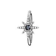Micro Piercing Ring silber Seestern Kristall schwarz