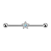 Barbell silber Kristallblume silber Opal blau