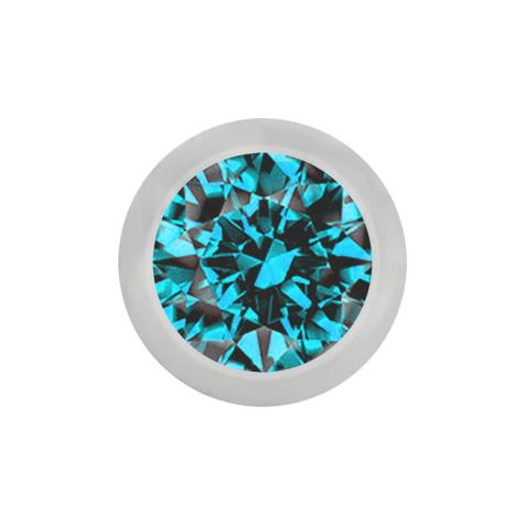 Kugel silber mit Kristall aqua