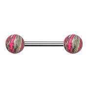 Barbell silber mit zwei Kugeln pink elektrisch Beschichtet