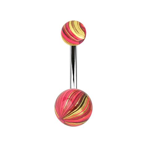 Banane silber mit zwei Kugeln pink und gold elektrisch Beschichtet
