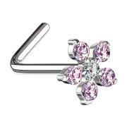 Nasenstecker gebogen silber Blume Kristall pink