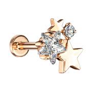 Micro Labret Innengewinde rosegold Sterne mit Kristall