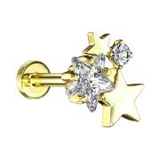 Micro Labret Innengewinde 14k vergoldet Sterne mit Kristall