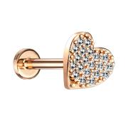 Micro Labret Innengewinde rosegold Herz mit Kristallen