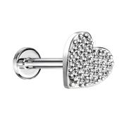 Micro Labret Innengewinde silber Herz mit Kristallen