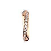 Micro Piercing Ring rosegold Halbkreis mit Kristallen verdreht
