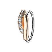 Micro Piercing Ring rosegold Doppelbalken verdreht mit Kristallen silber