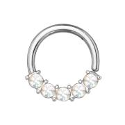 Micro Piercing Ring silber front fünf Epoxidsteinen weiss