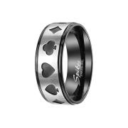 Ring schwarz Streifen gebürstet silber Poker