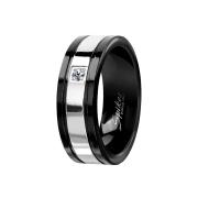 Ring schwarz silberstreifen mit Kristall