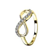 Ring vergoldet Unendlich mit Kristall