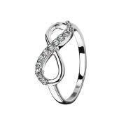 Ring silber Unendlich mit Kristall
