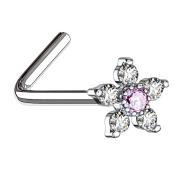 Nasenstecker gebogen silber Blume mit Kristall pink und silber