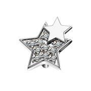Dermal Anchor silber doppelstern mit Kristallen