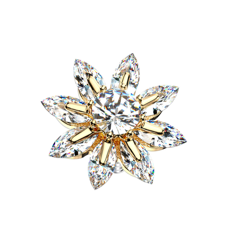 Dermal Anchor 14k vergoldet grosse Kristallblume