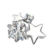 Dermal Anchor silber doppel Sternkristall silber