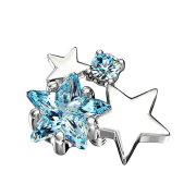 Dermal Anchor silber doppel Sternkristall aqua
