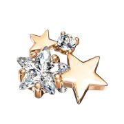 Dermal Anchor rosegold doppel Sternkristall silber