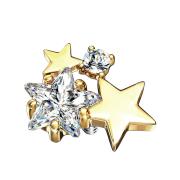 Dermal Anchor 14k vergoldet doppel Sternkristall silber