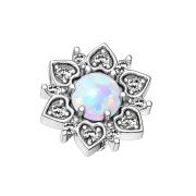 Dermal Anchor silber Herzblume mit Opal weiss
