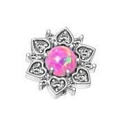 Dermal Anchor silber Herzblume mit Opal pink