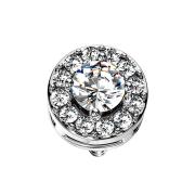 Dermal Anchor silber Kristallkreis mit grossem Kristall silber