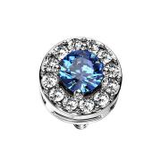 Dermal Anchor silber Kristallkreis mit grossem Kristall blau