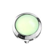 Dermal Anchor silber mit Epoxidstein grün