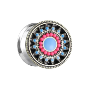Flared Plug Aztec Tribal mit Perlen und Türkis Stein