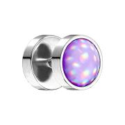 Fake Plug silber mit Opalite violett