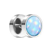 Fake Plug silber mit Opalite blau