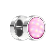 Fake Plug silber mit Opalite pink