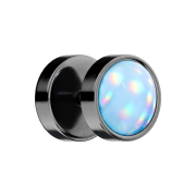 Fake Plug schwarz mit Opalite blau