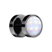 Fake Plug schwarz mit Opalite weiss