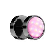 Fake Plug schwarz mit Opalite pink