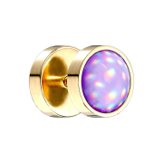 Fake Plug vergoldet mit Opalite violett