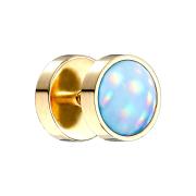 Fake Plug vergoldet mit Opalite blau