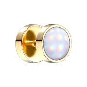 Fake Plug vergoldet mit Opalite weiss